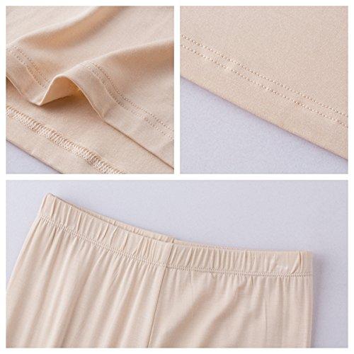 Kemini Mujer Conjuntos Ropa Interior Térmicos Cuello Forma de U Delgada Top Manga Larga & Pantalones Largos Paño Elástico Suave Beige