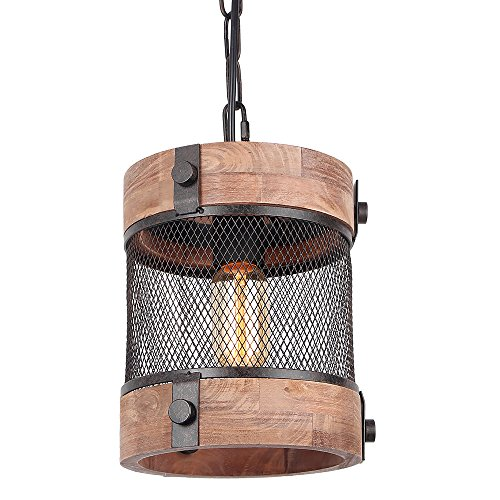 - Anmytek Metal and Wood Chandelier Round Iron Net Pendent Light Retro Rustic Loft Antique Lamp Edison Vintage Pipe Sconce Decorative Light Fixtures and Ceiling Light Luminaire