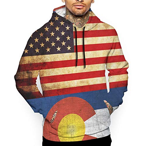 Vintage USA Colorado Flag Kangaroo Pocket Pullover Hoodie Drawstring Sweatshirt Long Sleeve Outdoor Sports ()
