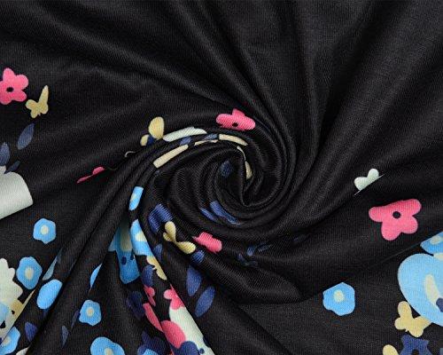 Yidarton Vestido Sin Mangas De Las Mujeres De Cuello Redondo Suelta Vestido De Impresión Verano Negro