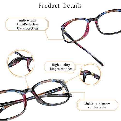 LifeArt Blue Light Blocking Glasses, Anti Eyestrain, Computer Reading Glasses, Gaming Glasses, TV Glasses for Women (Pink Floral, +1.75 Magnification)