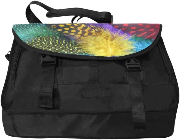Girls Crossbody Bag Colorful Colored Feathers Multi-Functional Laptop Bag Travel Fit for 15 Inch Computer Notebook MacBook