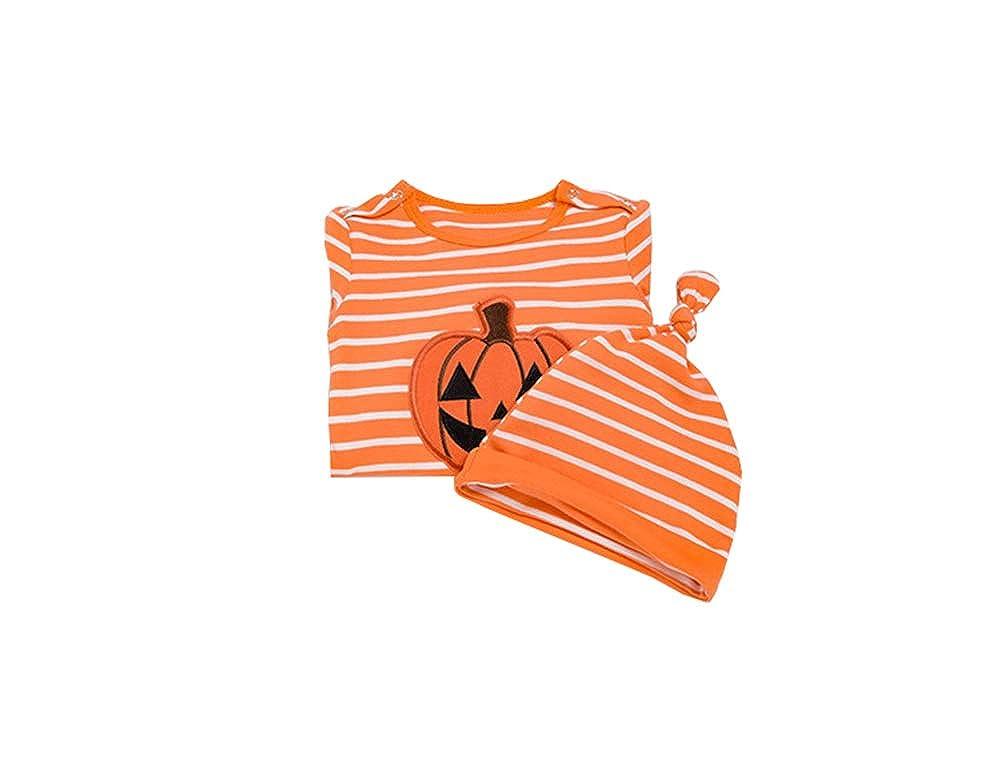 XINXINHAIHE Newborn Baby 2Pcs Halloween Pumpkin Footie Outfit Striped Pajamas