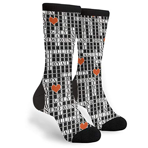 Newfoundland Dog Crossword Puzzle Unisex Adult Fun Cool 3D Print Colorful Athletic Sport Novelty Crew Tube Socks -