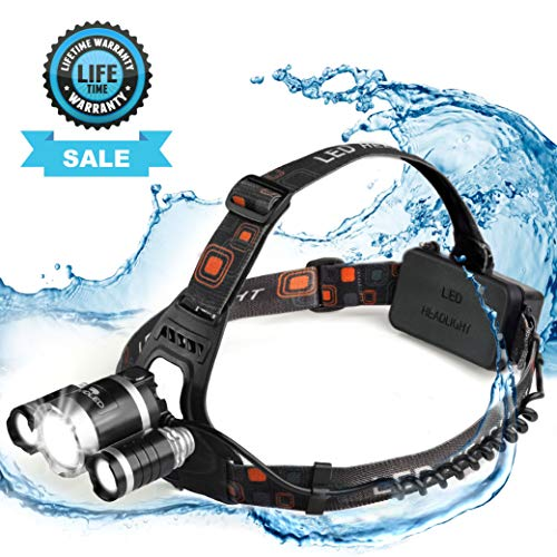 Vividled Headlamp Waterproof Rechargeable LED Head lamp - Cree Headlamp Flashlight Work Headlight for Running Camping Hiking Outdoor