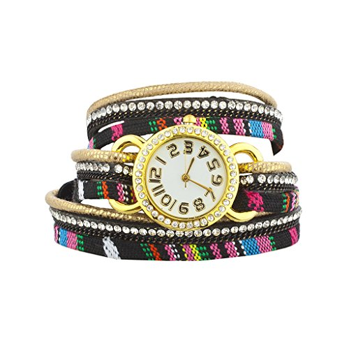 Lux Accessories Tribal Mexican Stripe Aztec Print Studded Wrap Bracelet Watch (Collection Halloween Movie Scary Village)