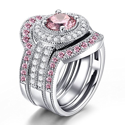 Amazon caperci 3 piece sterling silver round cz created pink amazon caperci 3 piece sterling silver round cz created pink sapphire bridal engagement wedding ring sets jewelry junglespirit Choice Image