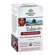 Organic Tulsi Tea, Red Chai Masala 18 ct by Organic India (Pack of 3)