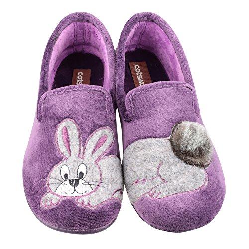 Mirak - Zapatillas de estar por casa clásicas modelo Ramsden para mujer Púrpura