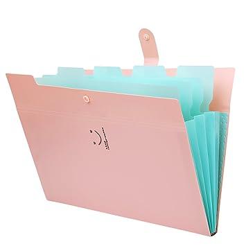 Carpetas A4 Soporte Extensible Portátil Acordeón Negocios de Plástico Archivo Organizador 5 Bolsillos File Folders Organizer