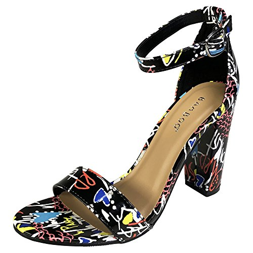 Black Multi Color Footwear - Bamboo Women's Single Band Chunky Heel Sandal with Ankle Strap, Black Multi-Color Patent PU, 8.0 B US