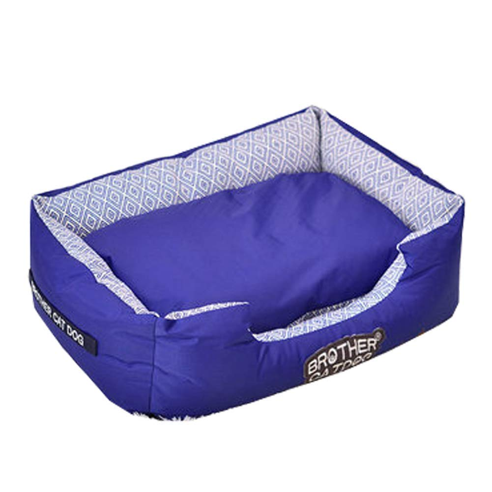 bluee Small bluee Small Kennel Pads Dog Beds Pets Soft Comfortable Washable Solid color Dog Cat Bed with Non Slip Base Cat Bed Pet Supplies Cover (color   bluee, Size   S)