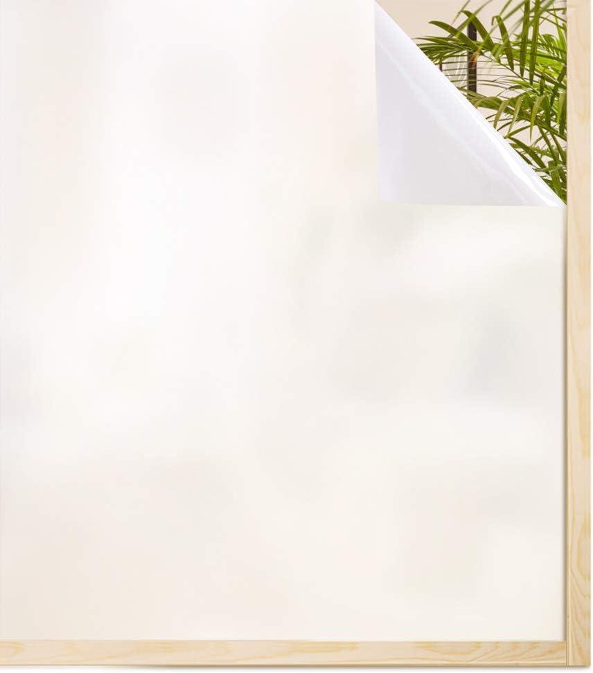 rabbitgoo Vinilo Ventana Privacidad Vinilo Translucido Decorativos para Cristal Puertas Sin Pegamento Laminas para Ventanas con Electricidad Estática Autoadesivo Pelicula Blanco 90x200CM