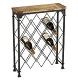 Hudson Rustic Iron Reclaimed Wood Wine Rack