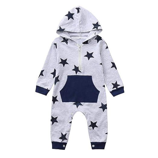 ccfbc987259f Lavany Baby Boy Girls Rompers Hoodie Long Sleeve Cute Star Plaid Print  Jumpsuit (0-