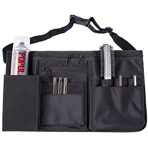 Studio Salon - Professional Hairdresser Canvas Waist Apron, Multiple Pocket Hair Salon Tools Cosmetic Organizer, Black