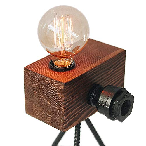 Real Wood Table Lamp Industrial Vintage Edison Bulb - Creative Camera Shape Unique Style - Free Bulb Included - Home Decor Furniture - 02 ()