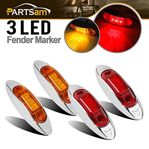 (Partsam 3 LED Amber/Red Trailer Truck Clearance Waterproof Side Marker Light Replacement)