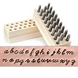 Script Metal Letter Stamp Set, Lowercase 1/8'' (3.2mm) (26 Piece Alphabet Punch Tool Set A-Z) for Stamping Metal for Hand Stamped DIY Jewelry Crafts - Beaducation Original