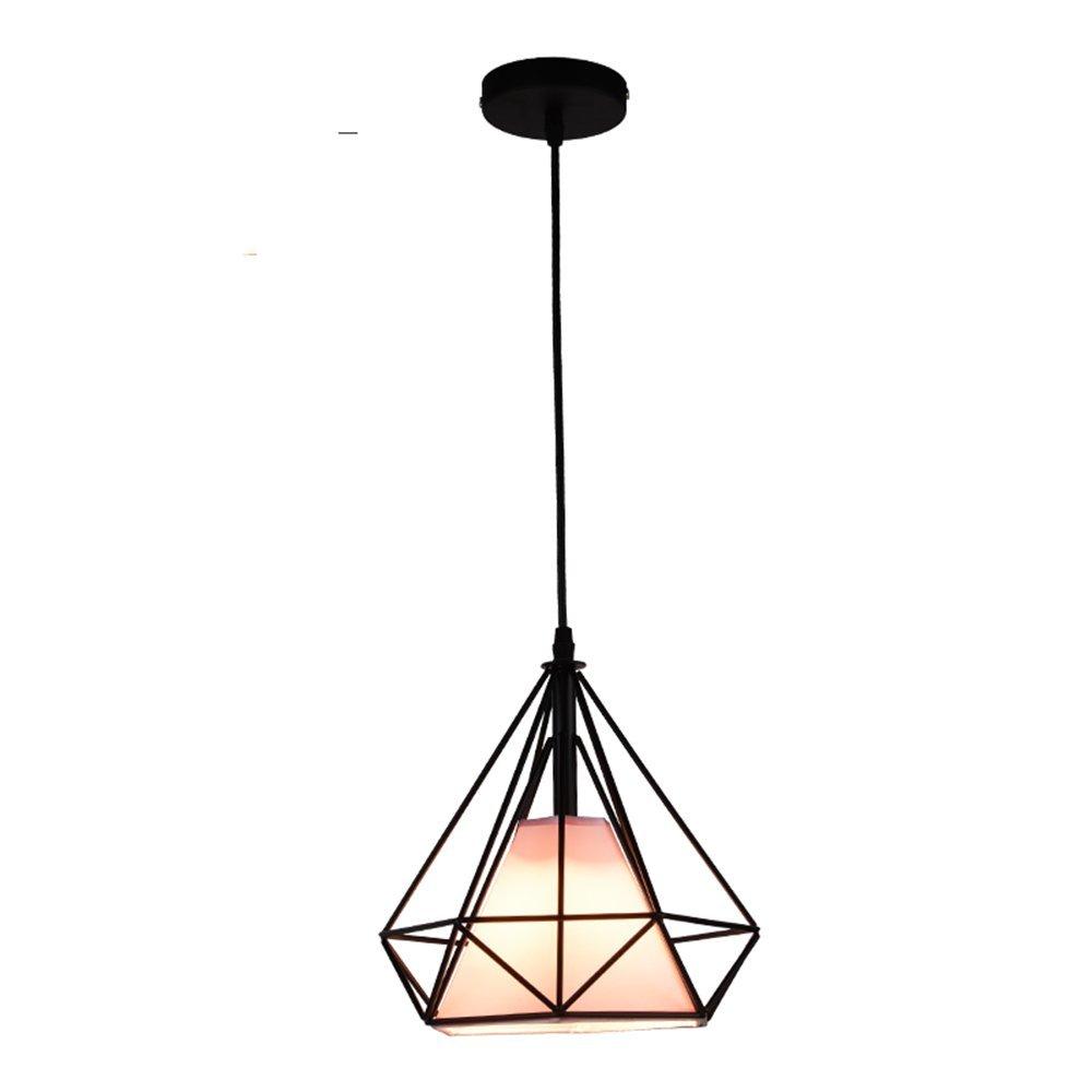 LighSCH Lustres Restaurant Bar Restaurant nordique personnalité fer Lampe Géométrie Art créatif américain,lampe de chevet chambre à coucher couvre tissu rose Led 7W 25  25cm