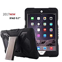 New iPad 9.7 inch 2017 Case, Bpowe Pepkoo Series Heavy Duty Cover Case Silicone Plastic Dual Layer Shock Proof Drop Proof Dust Proof Kids Proof With Kickstand For Apple New iPad 9.7 inch (black/black)