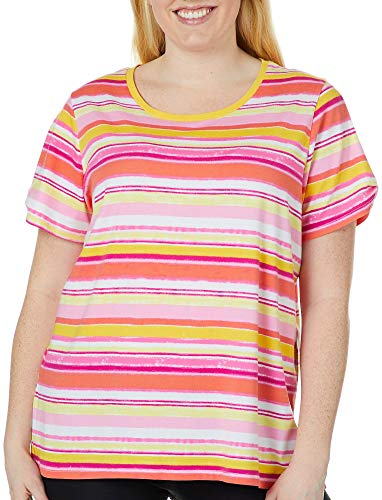Caribbean Joe Women's Plus Size Short Sleeve Cotton Stretch Printed Crew Neck Tee, Sherbet Stripe/Living Coral Combo, 3X