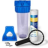 """10'' Clear Standard Transparent Whole House Water Filter System with Presser Relief Button, 3/4"""" Inlet/Outlet Brass Port & 5 Micron Sediment Water Filter Cartridge"""