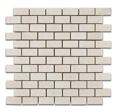 White Pearl / Botticino Marble 1 X 2 Polished Brick Mosaic Tile - 6