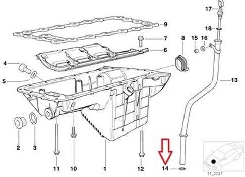BMW Genuine Engine Housing Oil Level Indicator Oil Pan Gasket for 545i 550i 550i 645Ci 650i 650i 645Ci 650i 650i 745i 750i 760i ALPINA B7 745Li 750Li 760Li Phantom Phantom EWB Phantom Phantom EWB Drophead Drophead Coup/é Coup/é