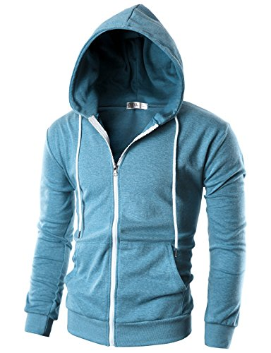 OHOO Mens Slim Fit Long Sleeve Lightweight Zip-up Hoodie with Kanga Pocket/DCF002-SKYBLUE-3XL