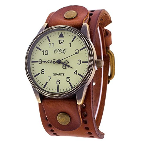 SANNYSIS Luxury Brand Vintage PU Leather Watch Men Women Wristwatch Ladies Dress Quartz Watch Coffee