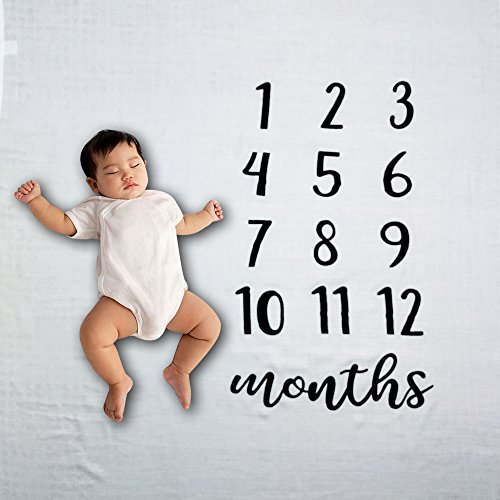 Baby Blanket- Baby Milestone Blanket- Newborn Milestone Bamboo Blanket- Soft and Warm Baby Blanket- Monthly 47'' x 47'' Blanket for Newborns- Perfect Baby Shower Gift by Inch x Inch