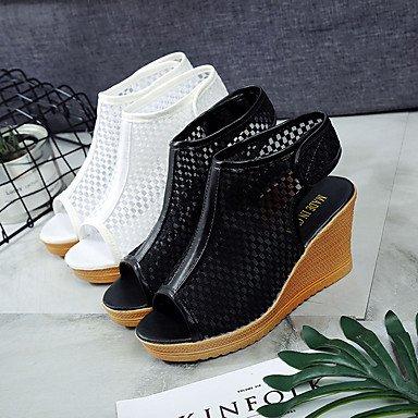 LvYuan Mujer Sandalias Confort PU Verano Confort Tacón Cuña Blanco Negro 12 cms y Más Black