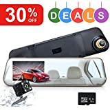 Wonyered Dual Lens Mirror Cam Full HD 1080P with 8G TF Card Included 170°Wide Angle 4.3 Inch Screen G-Sensor Loop Recording Night Vision