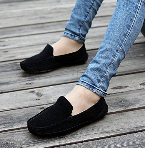 Negro Forrado Conducción Unisexo Pisos Coche Mocasín Ponerse Yijee Casual Zapatos Calentar BSvncT