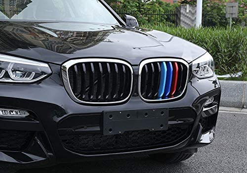 TOPGRIL M-Colored Grille Insert Trims Stripe M Sport Grille Insert Trim Strips For 2018-up BMW G01 X3 or G02 X4 Accessories 7 Beams ONLY