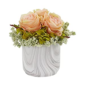 Nearly Natural 1629-PH Rose and Hydrangea Artificial Marble Finished Vase Silk Arrangements, Peach 78