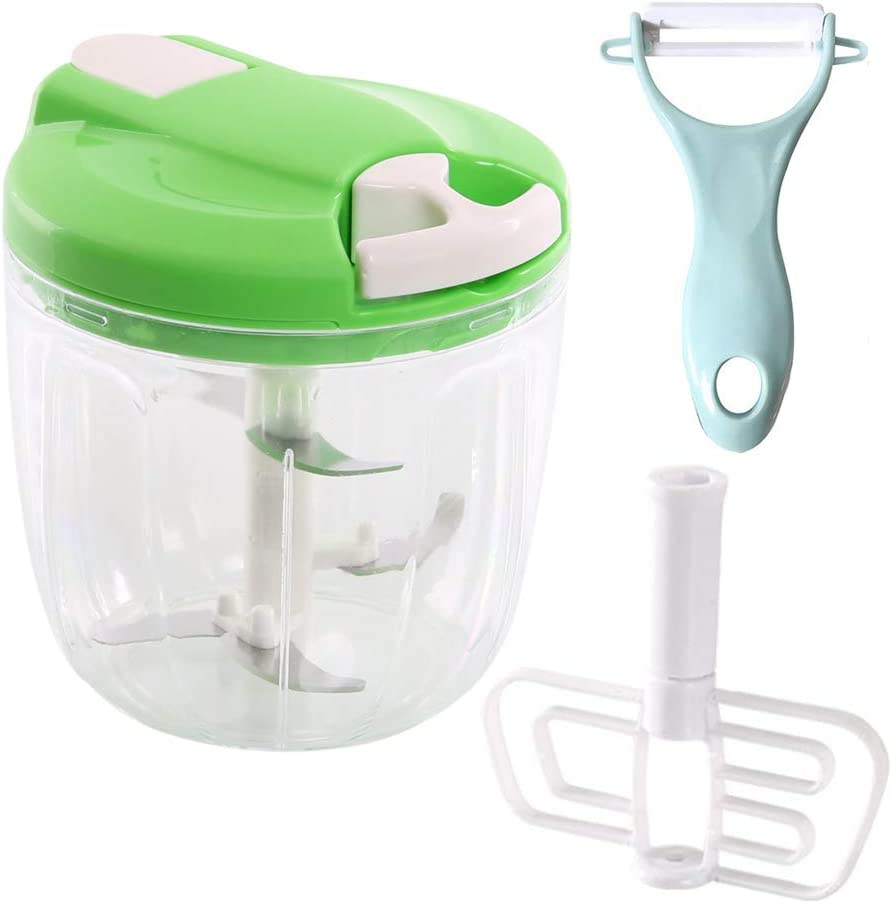 CROING Easy Pull Food Manual Chopper with 1 pc Peeler, Manual Food Processor Vegetable Blender Hand Held Mixer 900 ML