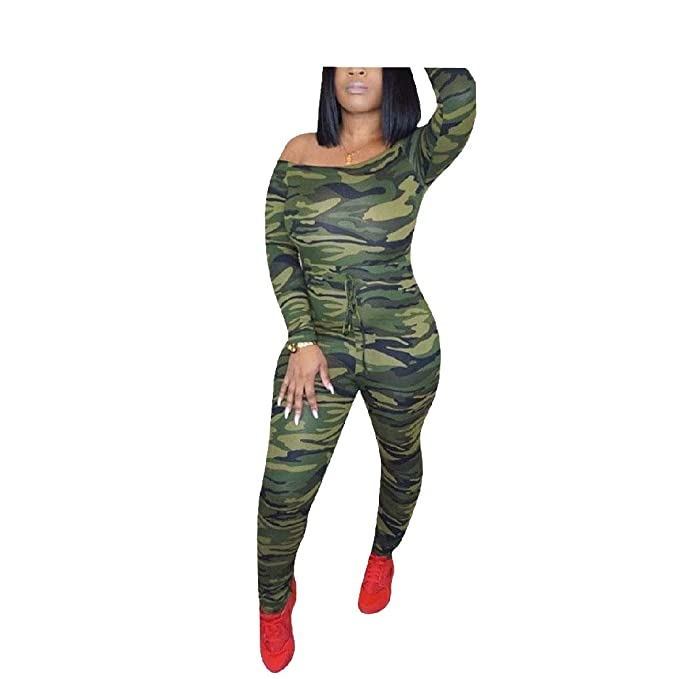 0f046c618233 Abetteric Womens Camo Print with Belt Sexy Long-Sleeve Party Jumpsuit AS1 XS