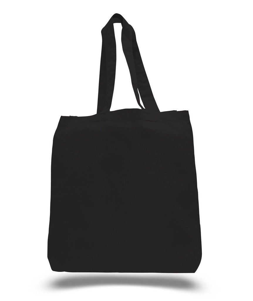 Set of 50 - Wholesale 100% Natural Cotton Plain Tote Bags, BULK Eco-Friendly Tote Bags in Bulk (15''W x 16''H x 3''D (Bottom Gusset), BLACK)
