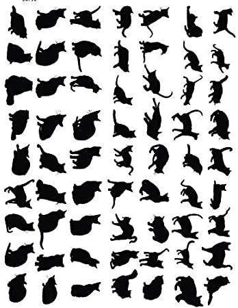 Images Choose Either Ceramic 3 Different Size Sheet to Choose from Enamel Decal Glass Decal or Glass Fusing Decals Enamel Black Cats Silhouette Ceramic Decal 56710 Waterslide Decal