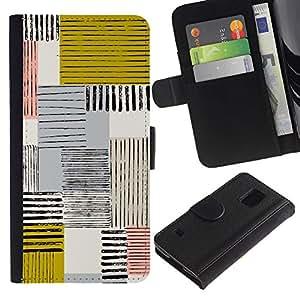 Be Good Phone Accessory // Caso del tirón Billetera de Cuero Titular de la tarjeta Carcasa Funda de Protección para Samsung Galaxy S5 V SM-G900 // Abstract Mustard Yellow Lines Checke