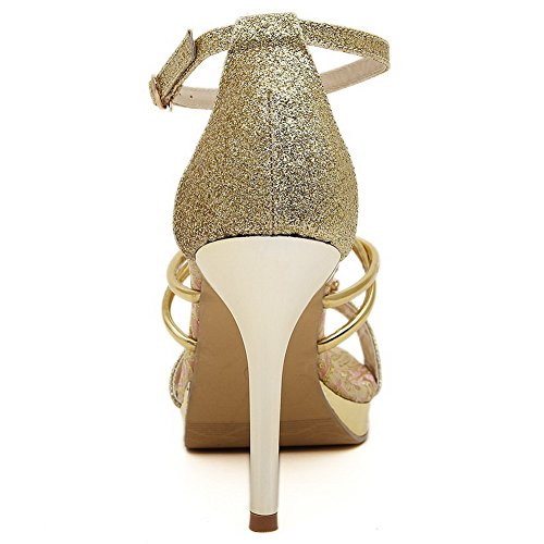 AllhqFashion Sandals Spikes Stilettos Women's Buckle Solid Gold Open Pu Toe rr8YxO