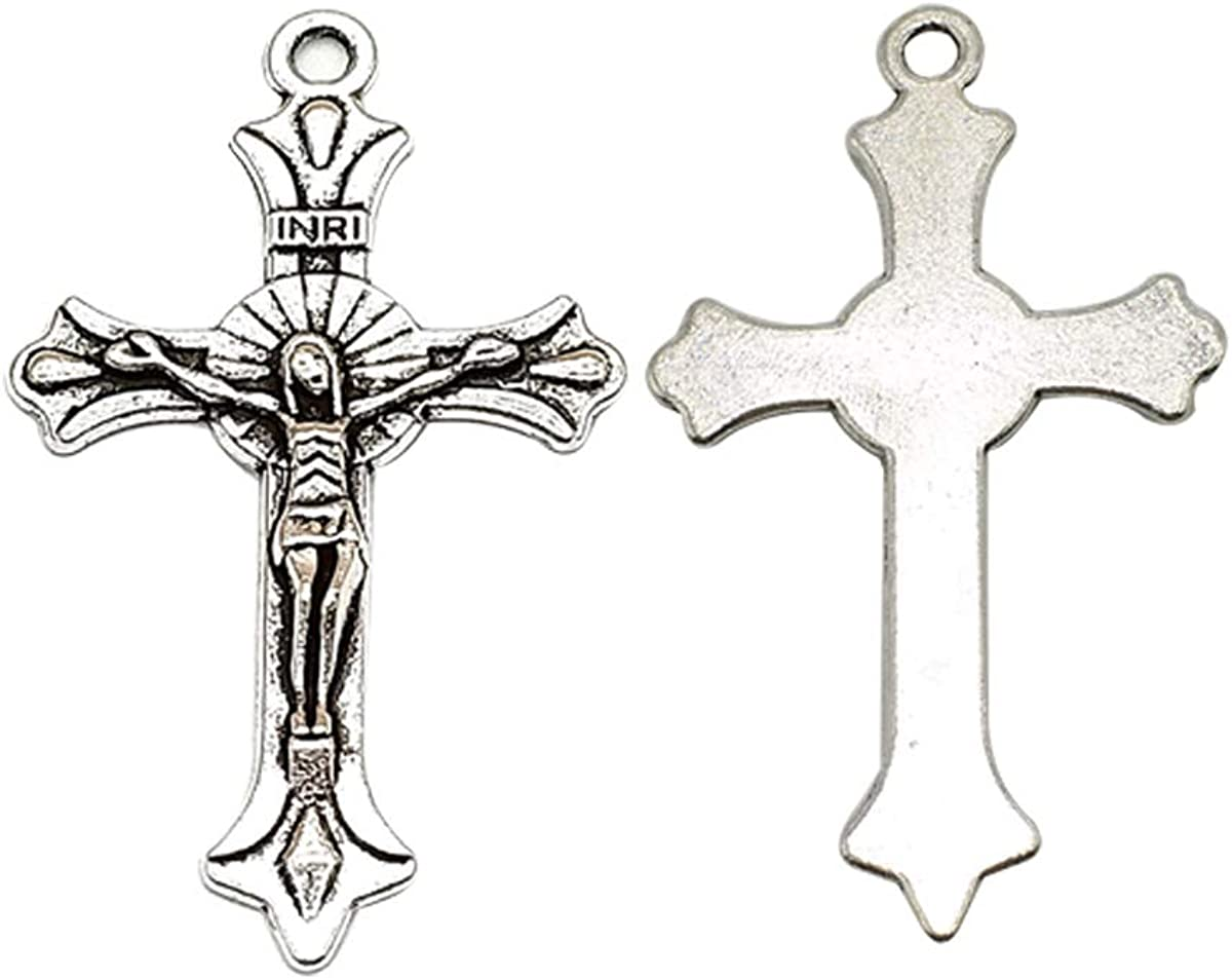 10pcs Cross pendant charms 54x33mm antique silver ornament accessories jewelry making DIY handmade craft base material