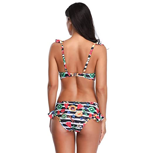 Conjunto de Bikini de Las Mujeres, Traje de baño Floral Moda Sujetador Push-Up del Traje de baño Negro: Amazon.es: Electrónica