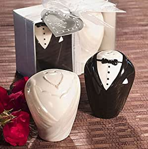 Bride and groom Ceramic Salt & Pepper Shakers Wedding Party Favor Gift , Set of 48
