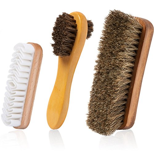 - TAKAVU Horsehair Shoe Shine Brush Kit- 3 Different Shapes & Sizes - Premium Horsehair Shoe Shine Brush, Polish Applicator, Crepe Suede Shoes Brush for Shoes, Leather, Boot, Cloth, Bag