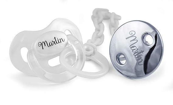 Pack Premiun (Cadena chupete bebé) (01 Blanco Plateado, 0-6 ...