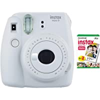 Fujifilm instax Mini 9 Instant Camera (Smokey White) with Film Twin Pack Bundle (2 Items)