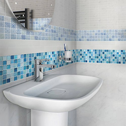 BEAUSTILE Decorative Tile Stickers Peel and Stick Backsplash Fire Retardant Tile Sheet (N.Blue) (10, 5.28'' x 14.8'') by BEAUS TILE (Image #3)
